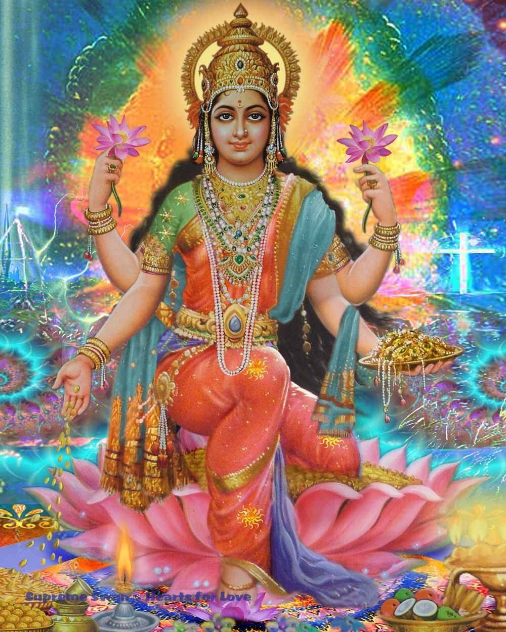 Hindu Poster Art: Beautiful Art Print Of Lakshmi, Goddess Of Prosperity