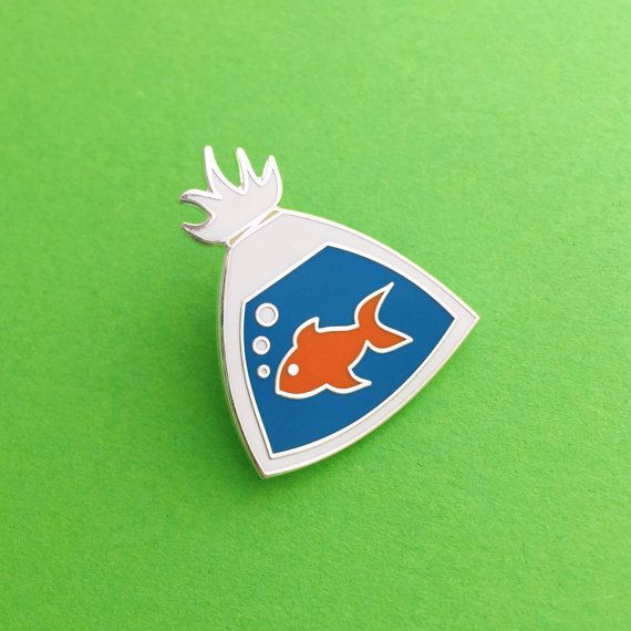 Fish In A Bag Enamel Lapel Pin Badge by fairycakes on Etsy
