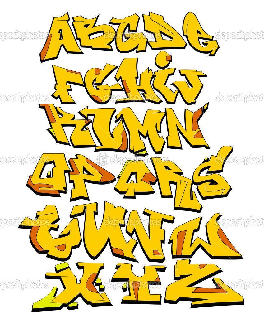 cave man fonts Graffiti font alphabet, abc letters