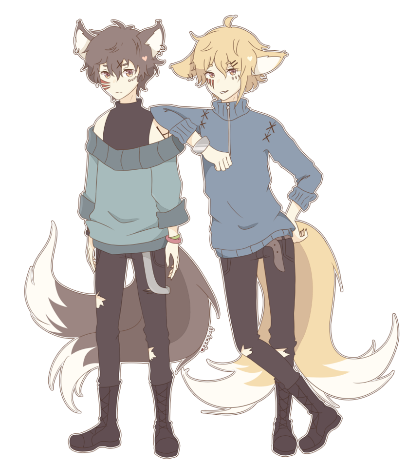 Kitsune Twins by Peapup Kitsune, Boy art, Writing art