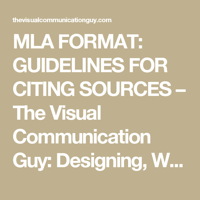 mla format  guidelines for citing sources