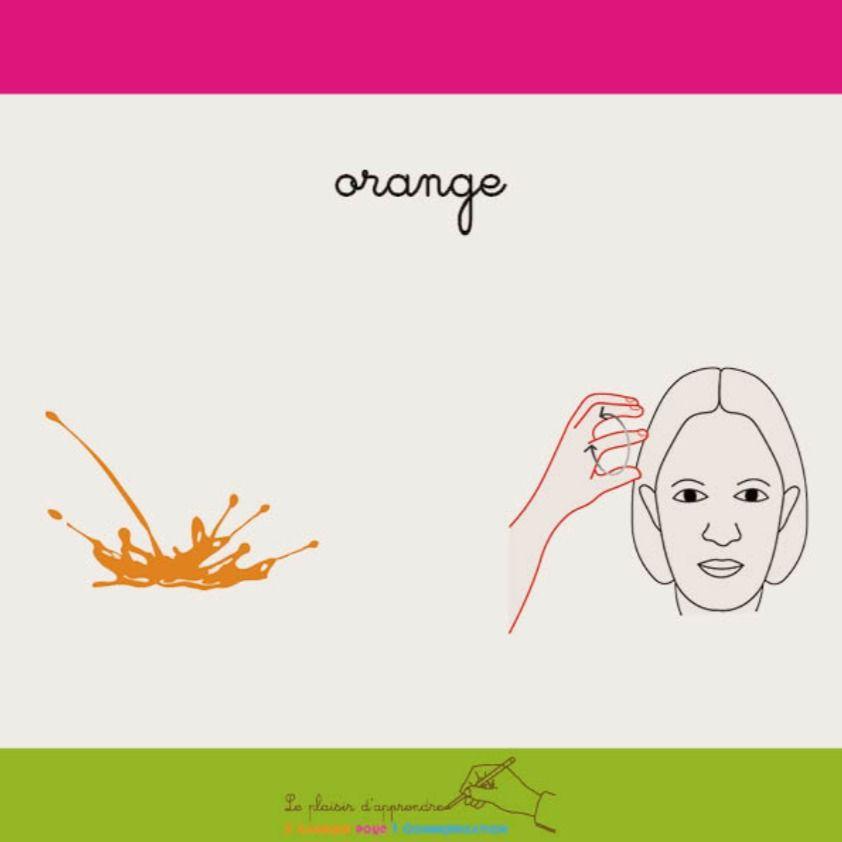 Orange Couleur Langue Des Signes Langue Ecrite Francaise Signes Francais Langue Des Signes Francaise Lsf