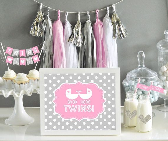 Girl TWINS print sign in Light Pink and Grey by PartiesandGlitter