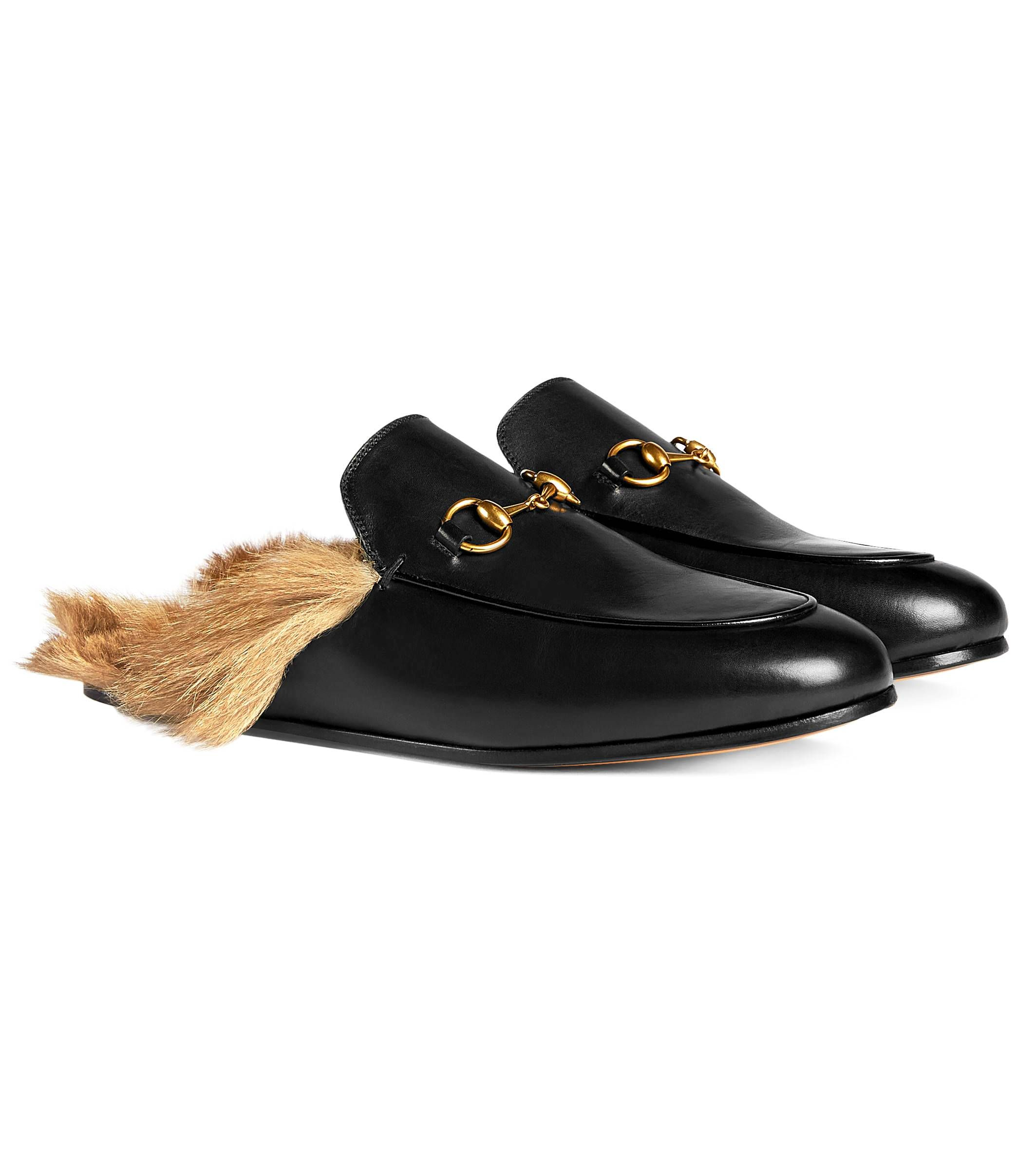 ae24e6e539c Gucci Princetown Leather Fur Slippers Women s Flip Flops Loafers Mules │  Represented By Sienna Miller