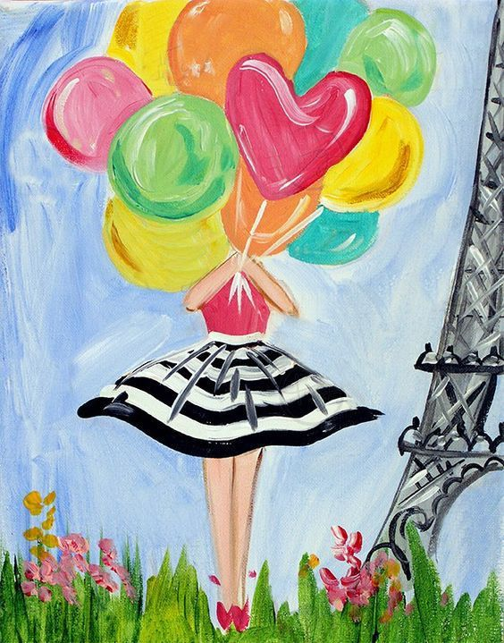 Lady with balloons cute beginner painting idea for Cute watercolor paintings