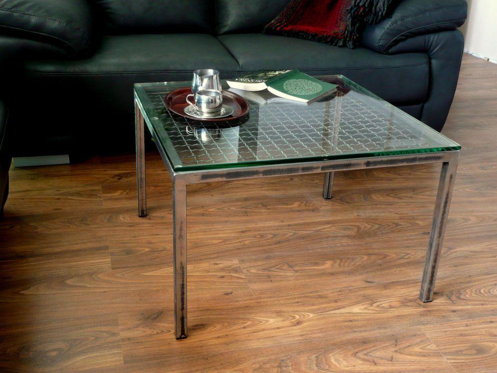 Wohnzimmertisch Industrial ~ Industrial tisch industrie stahl loft glas vintage handgefertigt
