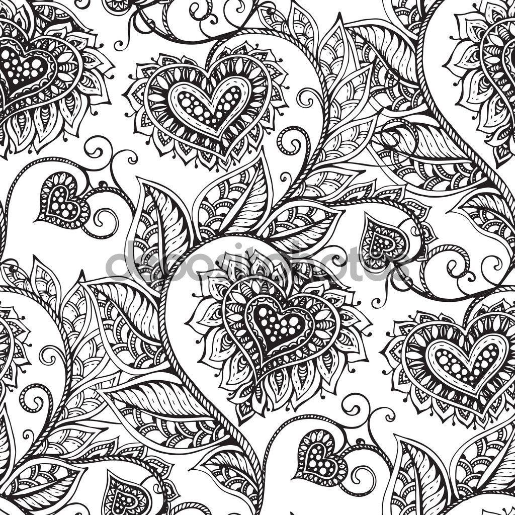 Patrón transparente de vector con mano dibujado flores adornados con ...