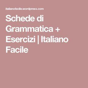 Schede Di Grammatica Esercizi Italiano Pinterest Education E