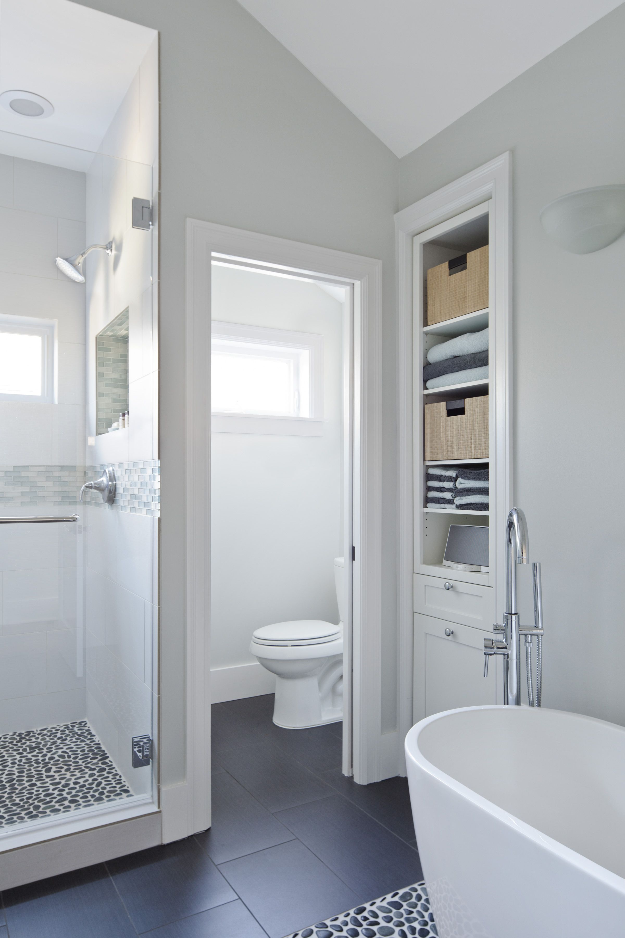 Master bathroom with shower tub and toilet