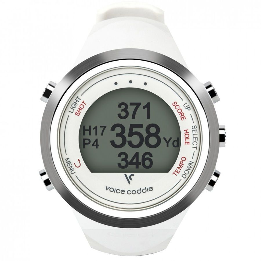 2017 Voice Caddie T1 Hybrid Golf GPS Watch White NEW