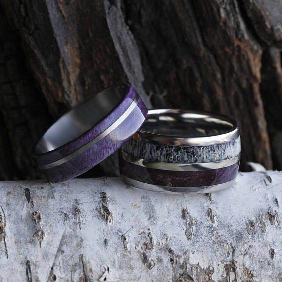 Purple Box Elder Wood Wedding Band Set Women S Wood Ring Rings