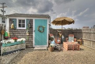 Cottage Patio with Cedar shingle siding, Pallet table ... on Nautical Patio Ideas  id=37574