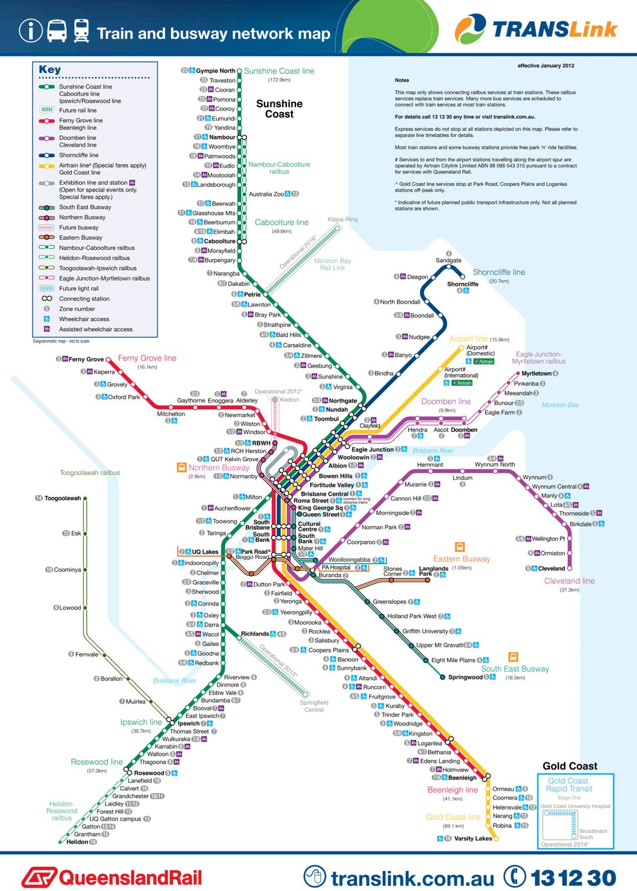 Official Map Translink Bus And Rail Network Brisbane And