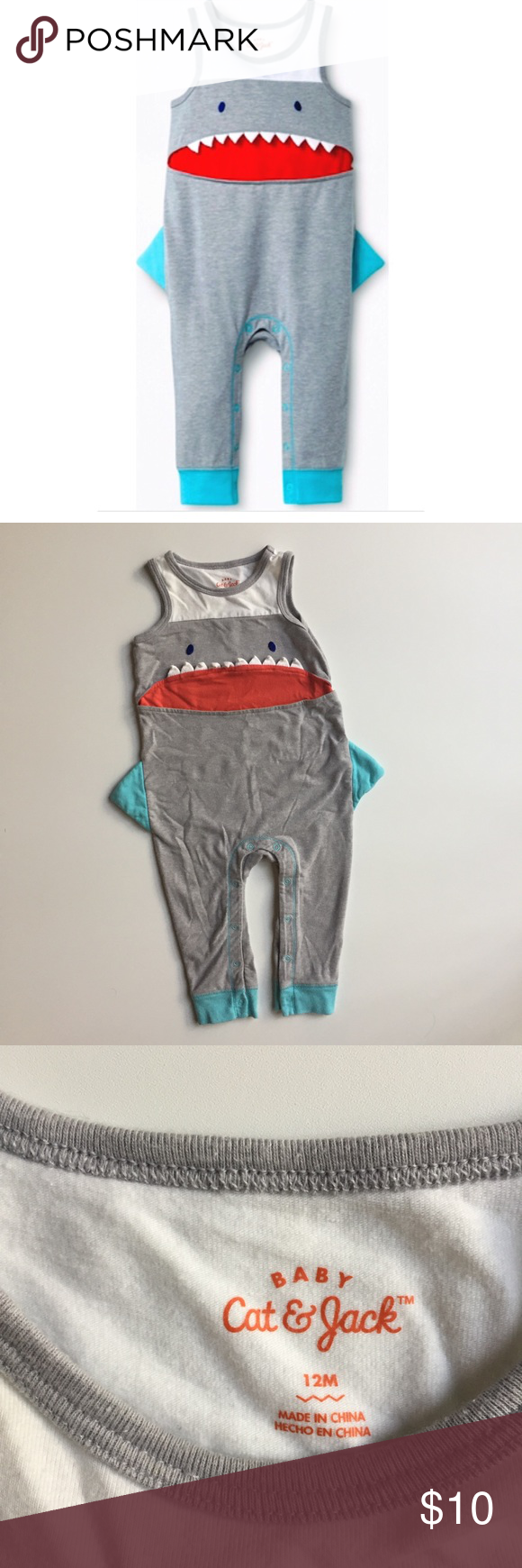 d02b95d462c0 Cat   Jack Baby Shark Romper 12 Months Adorable shark one-piece romper by  Cat