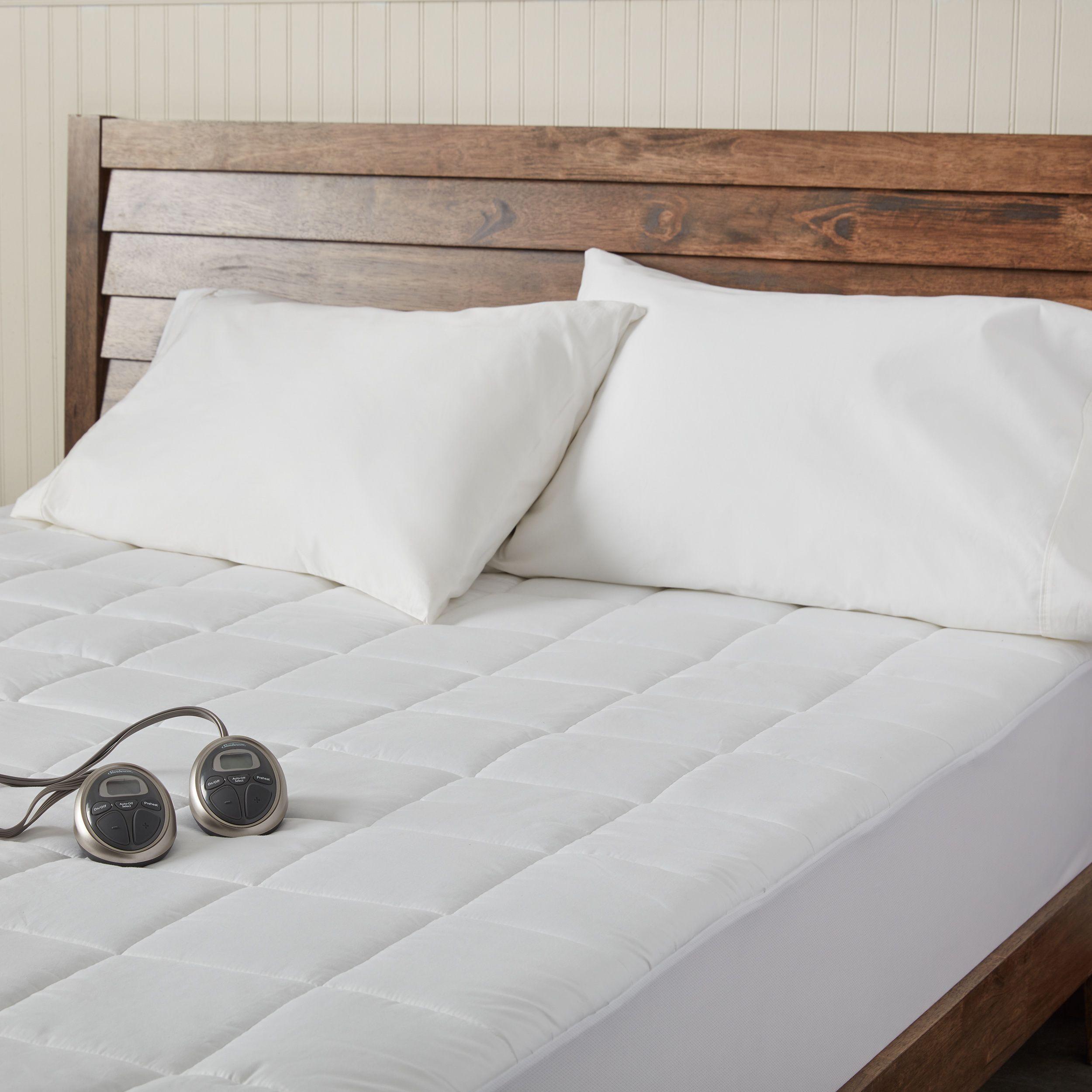 sunbeam premium heated electric queen size mattress pad white