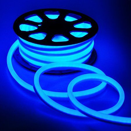 Flexible Blue 1200 LED Bulbs Neon Rope Tube Light 50ft 110V W Power Cord  Connectors Covers