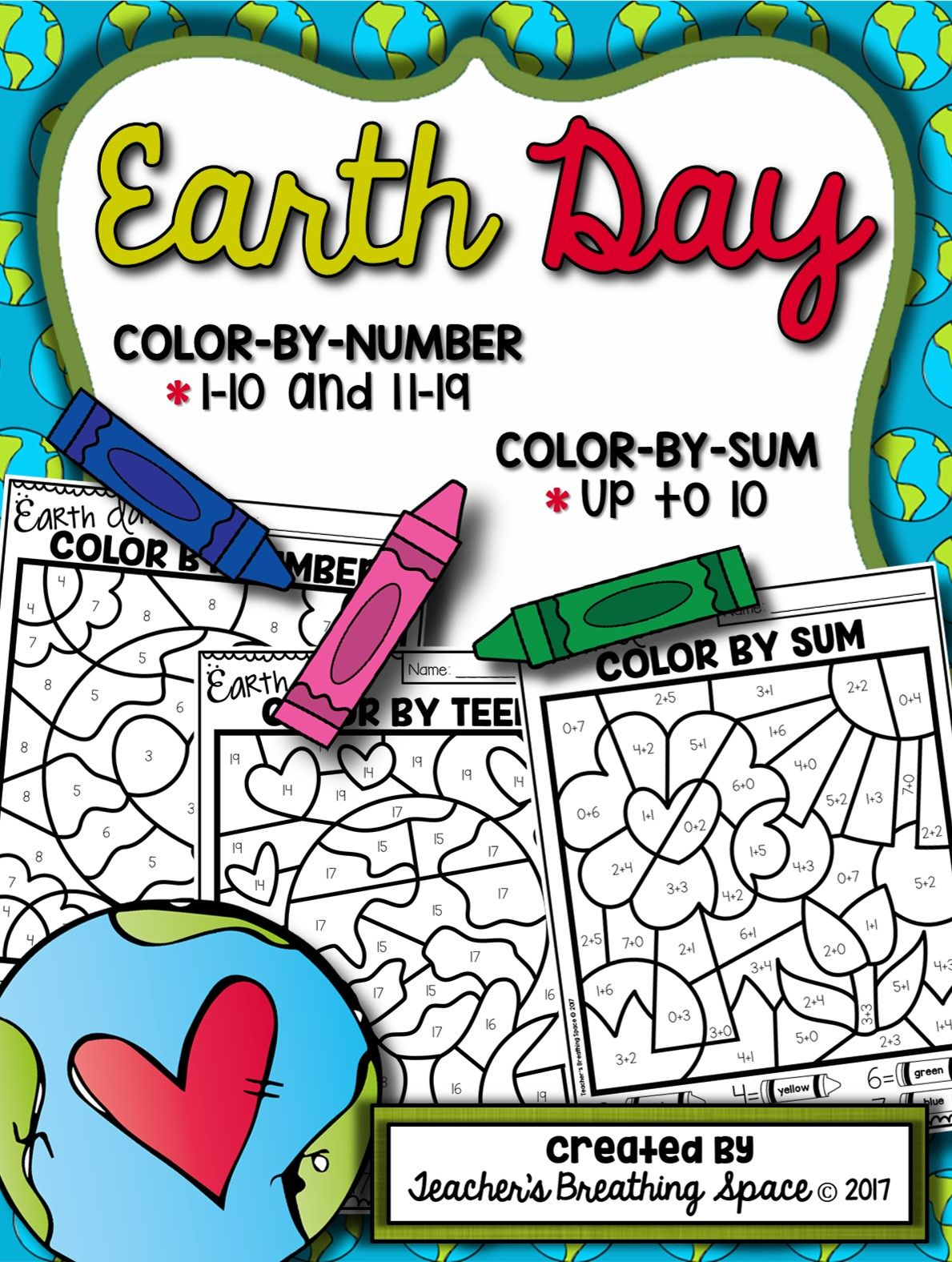 earth day color by number 1 10 u0026 11 19 and color by sum up to 10