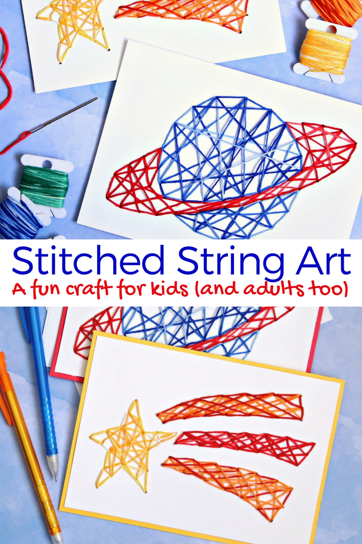 Stitched string art is the perfect craft for kids and adults too stitched string art a fun craft for kids cricut craft for kids cricutmade solutioingenieria Choice Image