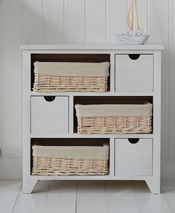 Cape Cod large storage furniture with 6 drawers including baskets