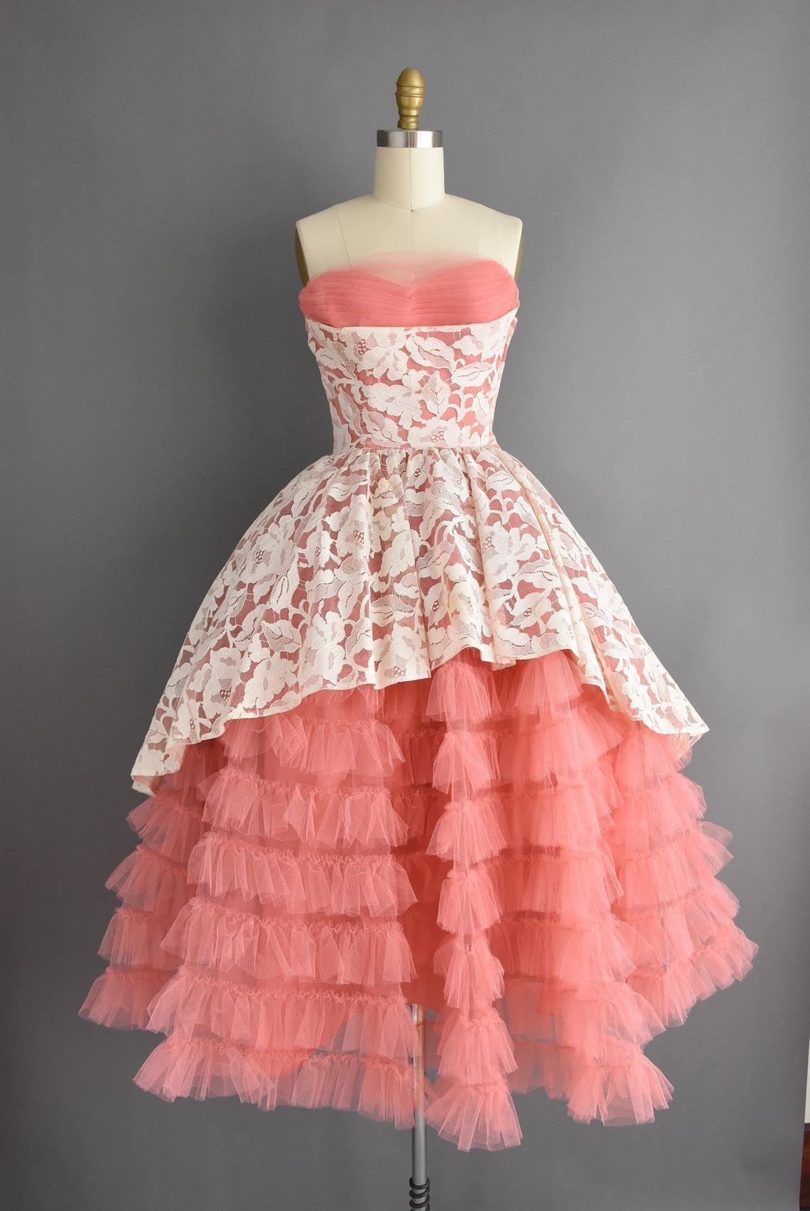 50s Vintage Dress Gorgeous Strapless Pink Ruffle Tulle Etsy Vintage Dresses 50s Vintage 1950s Dresses Dresses [ 1705 x 1140 Pixel ]