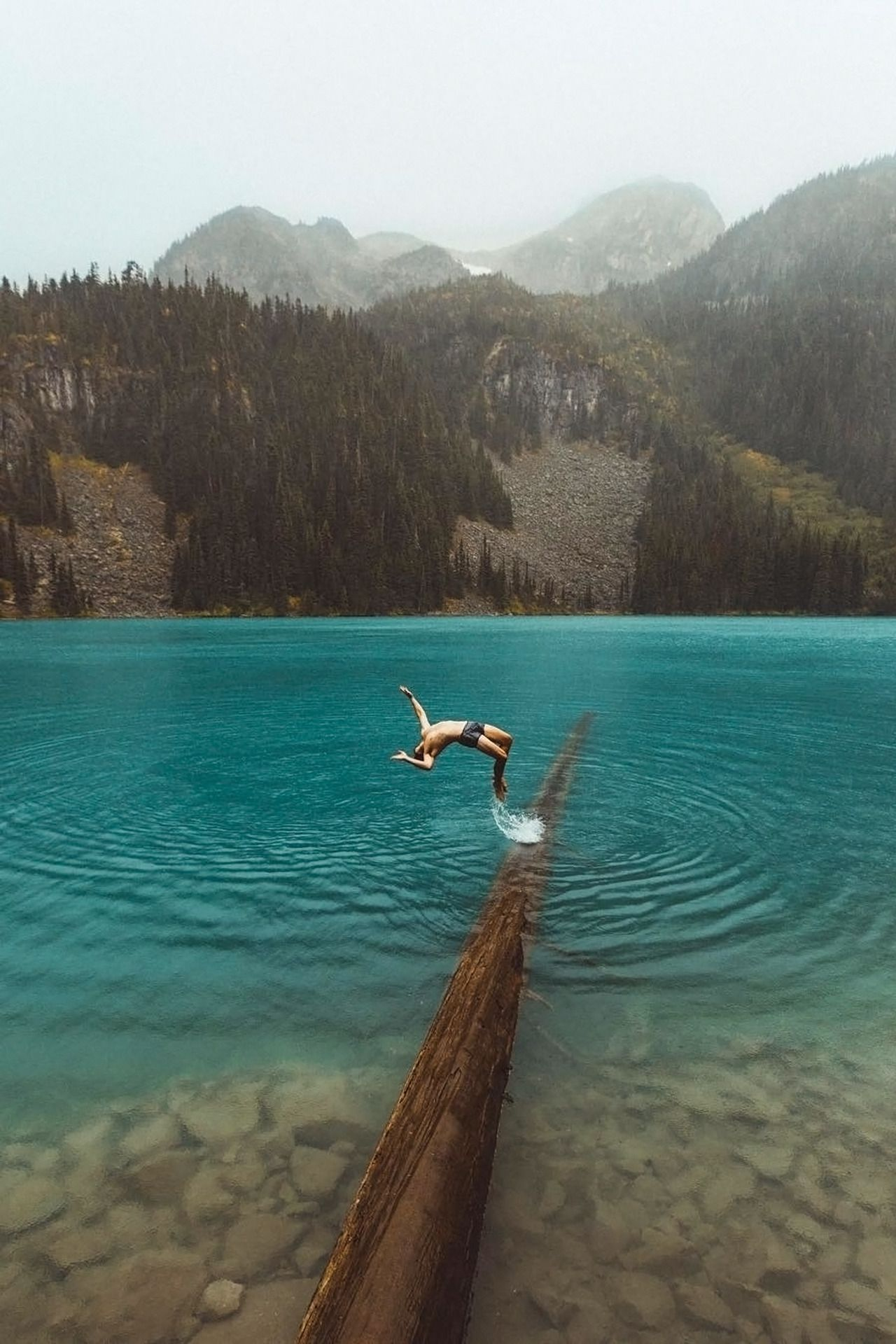 Diving into a glacier fed lake By  Carlos Lazarini