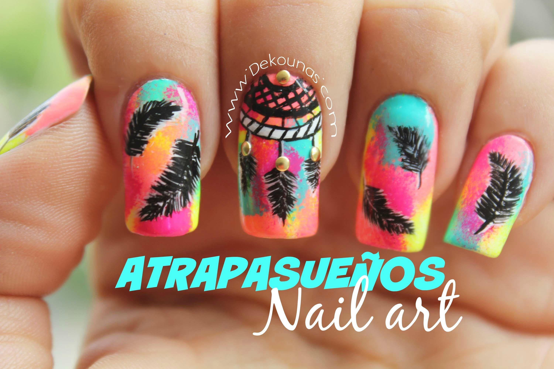 Decoración de uñas atrapasueños - Dreamcatcher nail art | uñas ...