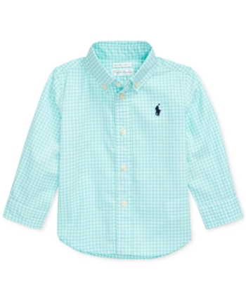 b1c6b5e0 Polo Ralph Lauren Baby Boys Gingham Cotton Poplin Shirt - Lt Mint Multi 9  months