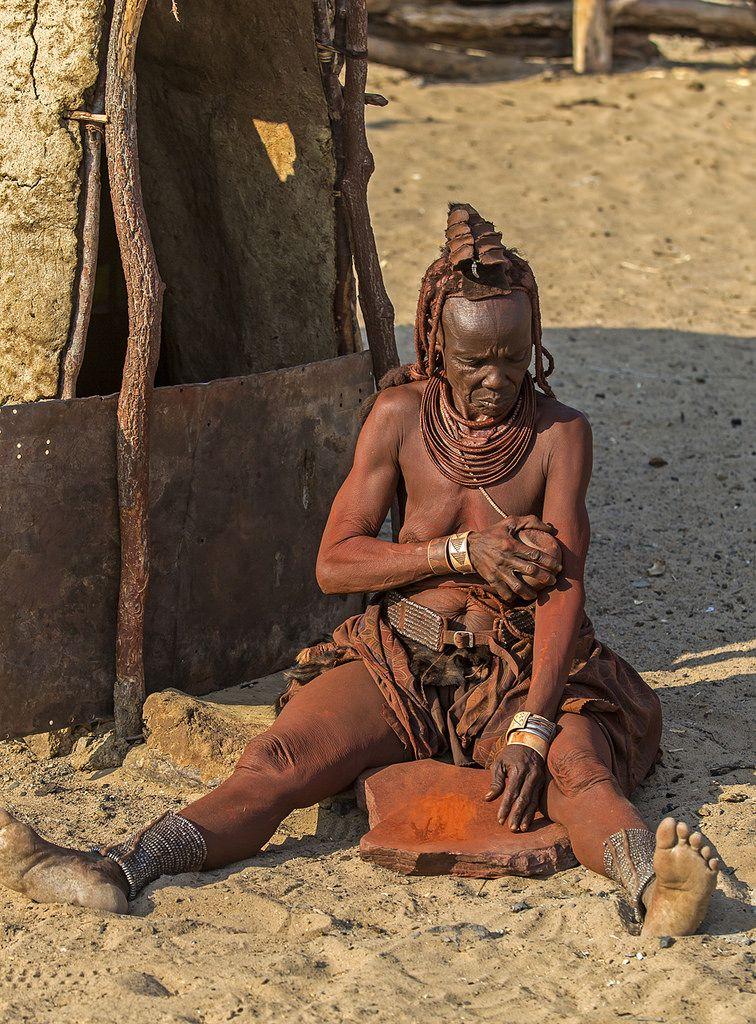 Himba Woman Applying Ochre Afraican People Africa Tribes