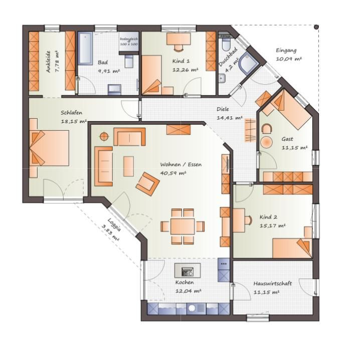 Jk Traumhaus individuell geplant großzügiger winkelbungalow jk