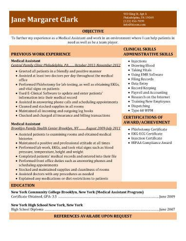 Experienced Medical Assistant  Free Resume Template By HloomCom