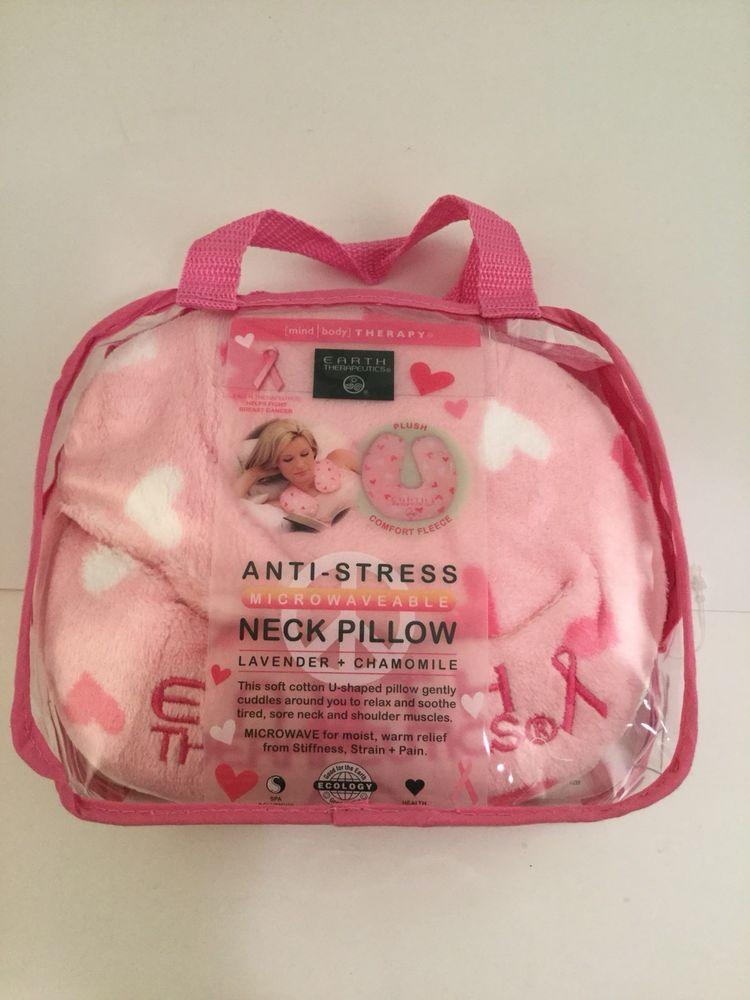 Earth Theutics Pink Microwaveable Neck Pillow Relax Muscles Anti Stress Earththeutics Sore