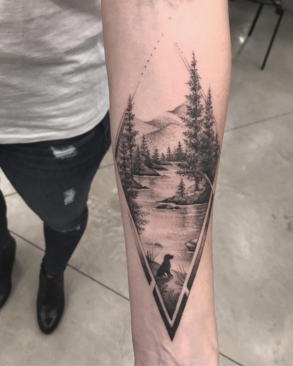 Triangle geometric forest mountain tree pine design modern tattoo...