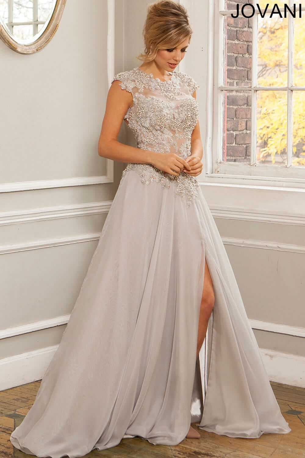 Silver Chiffon Dress 99358. Jovani. | Gowns & Balls | Pinterest ...
