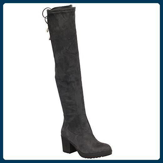Damen-High-Heel aus Velourslederimitat, knielange Stiefel, rot - rot - Größe: 36