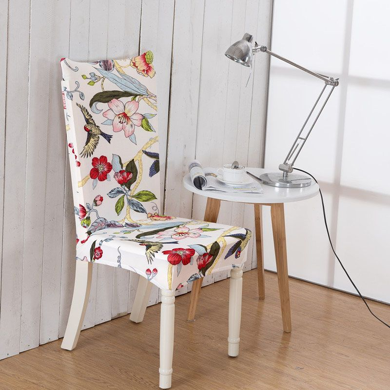 Computer Chair Cover Paddy Stretch Short Removable Dining Room Spring Flower Bird Printing