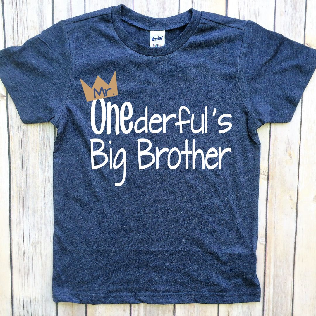 Mr Onederful Birthday Brother Shirt Boys Big Sister Tshirts For Kids By PeachTeeCo