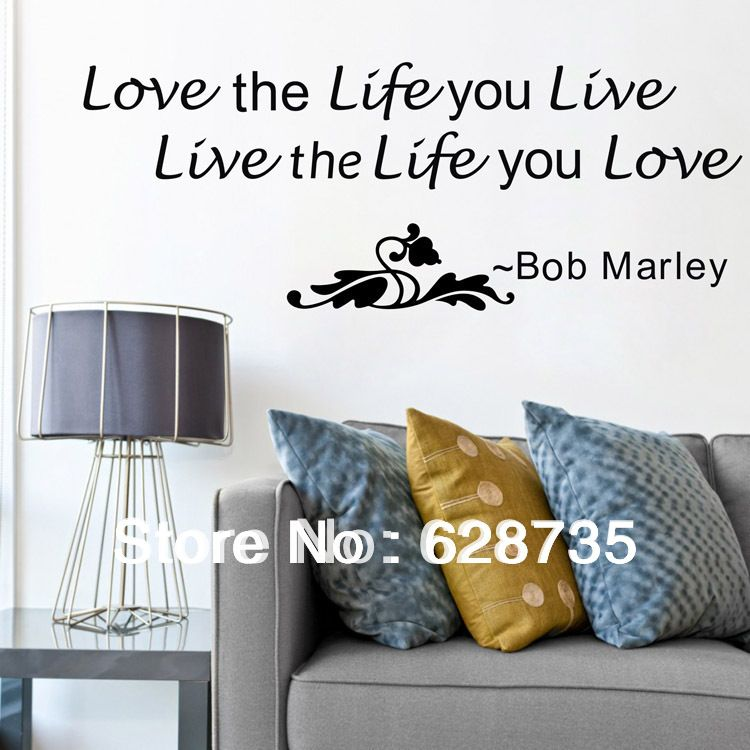 Large size 98x38cm ebay hot selling free shipping bob marley wall decals quotes sticker love