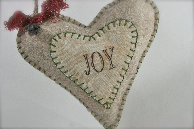 Christmas Joy Felt Heart Decoration Ornament Package Topper. $4.00, via Etsy.