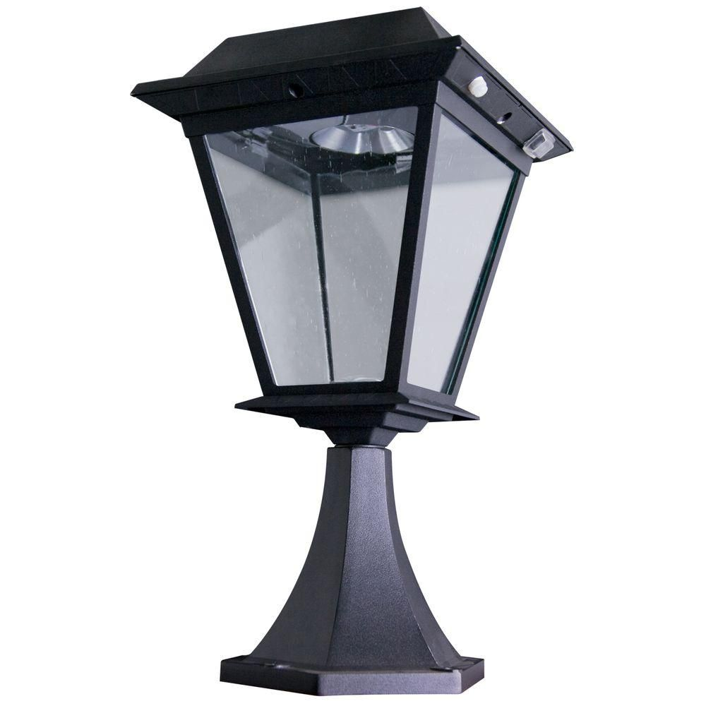 Outdoor lamps  Stay On Whole Night  Lumen Post Mount Outdoor Black Solar LED
