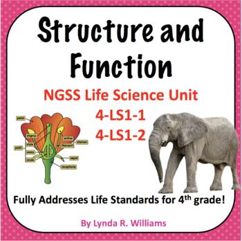 Structure and Function NGSS 4LS11 and 4LS12 is part of Ngss, Life science, Life science experiments, Fourth grade science, Structure and function, Science lessons - This Complete unit fully addresses the Life Science Standards for 4th grade NGSS  Students will learn about that animals and plants have internal and external structures and that they each serve a specific function  The will also learn about structural and behavioral adaptations in animals  Student