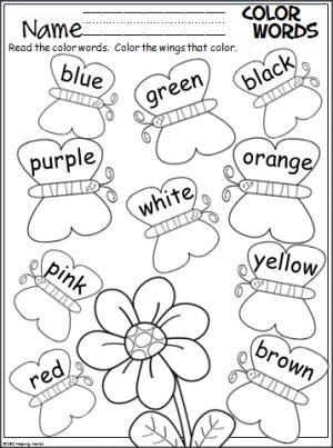 Butterfly Color Words Activity Color Word Activities Preschool