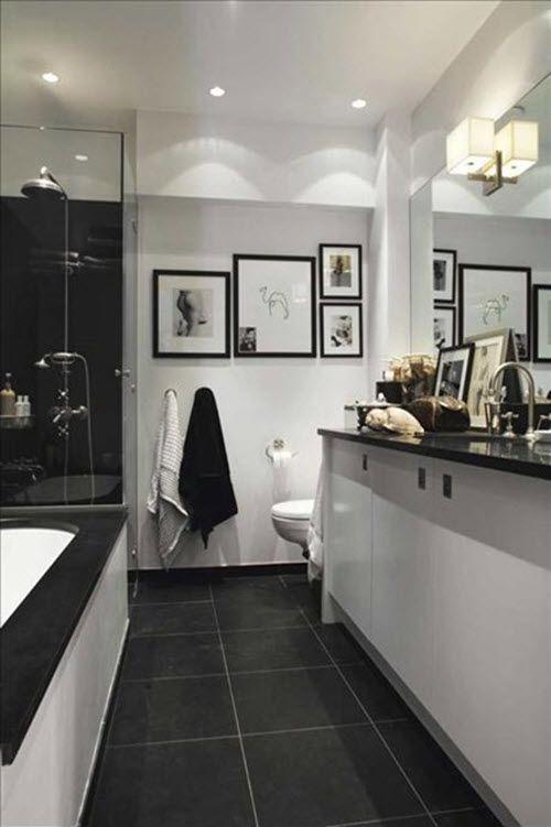33 Trendy Basement Bathroom Ideas: 33 Black Slate Bathroom Floor Tiles Ideas And Pictures