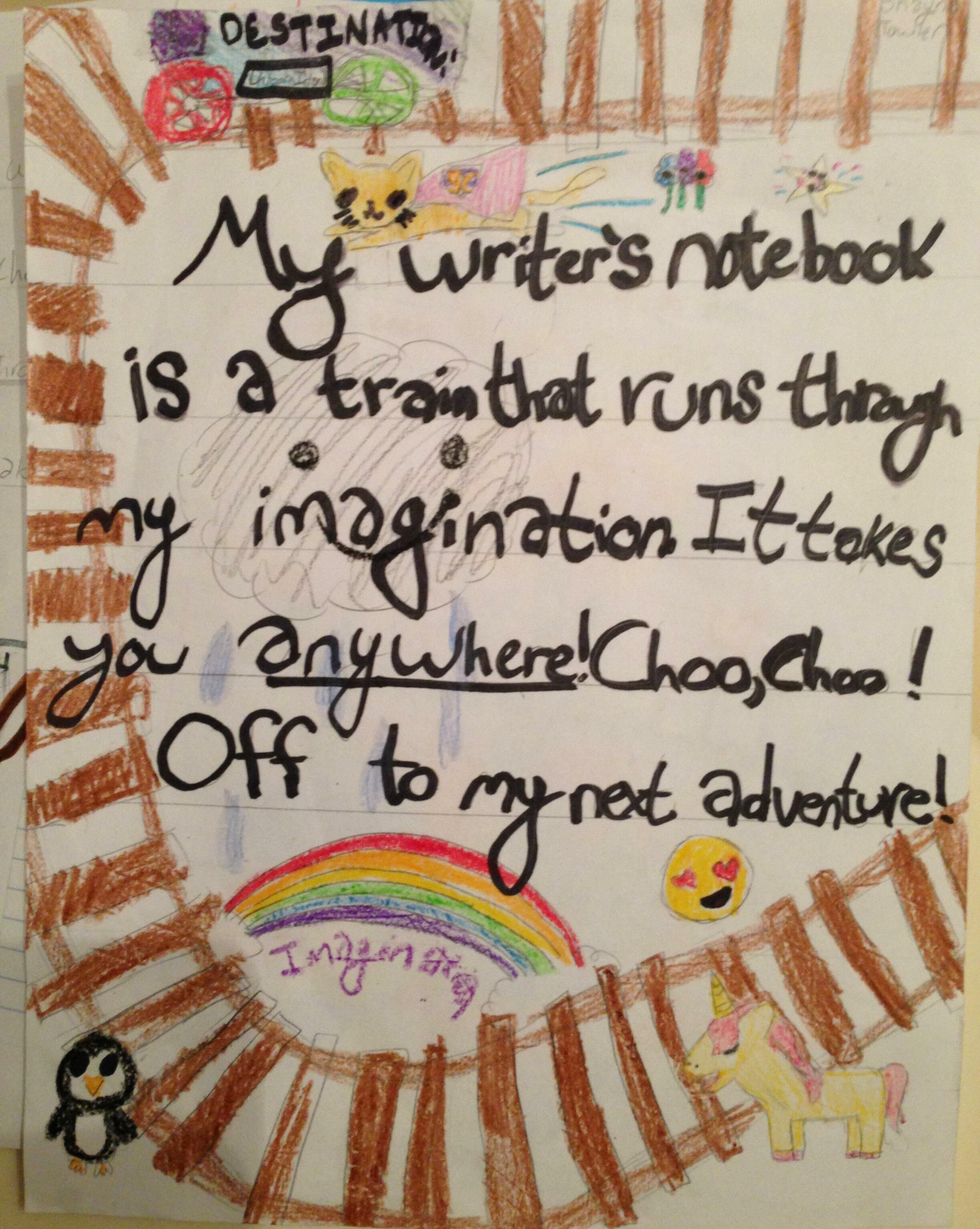 "Here is one of our four winners for 2016's national writer's notebook metaphor contest.  This one comes from Shayna in Ms. Rosenthal's class. ""Repin"" or ""Like"" this pin by October 31, 2016.  The student with the most likes and re-pins will earn a $25 Amazon Gift Card!"