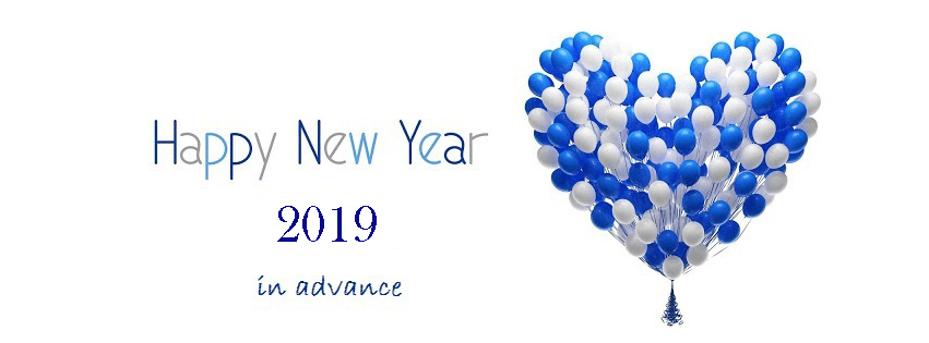 advance happy new year 2019 facebook cover white blue