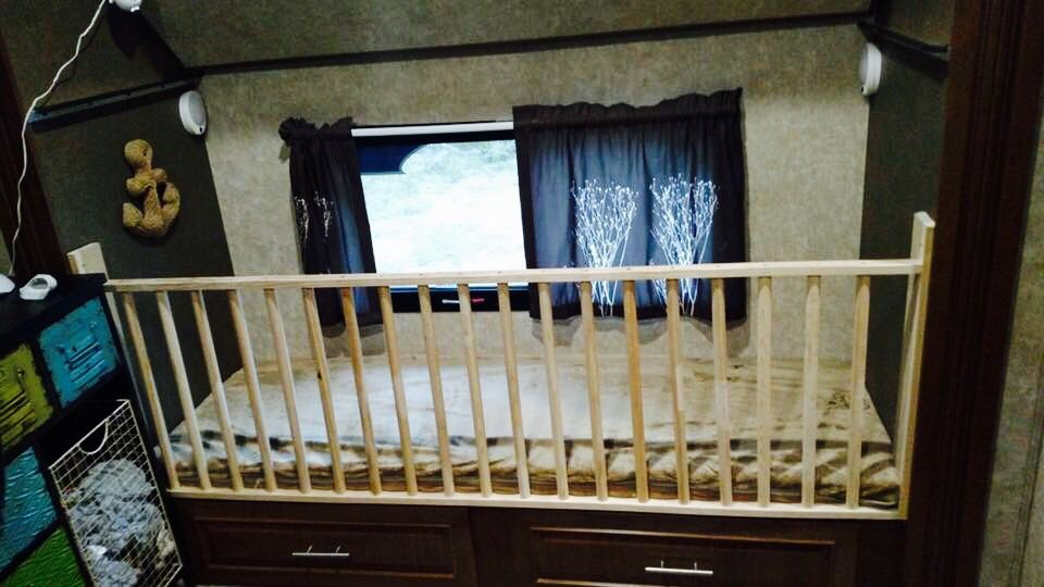 Adding a crib railing to the bottom bunk in an RV ...