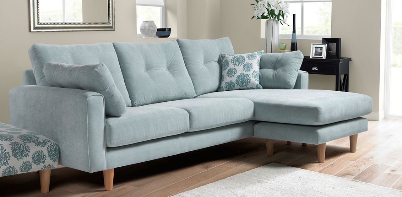 Duck Egg Blue Corner Sofa Has Matching Arm Chair Dfs For Casual Living Area Blue Corner Sofas Duck Egg Blue Living Room Blue Sofa Living