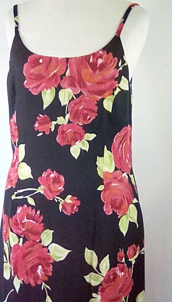 5caffb00d08 Vintage 90s Laura Ashley dress black red green floral maxi ...