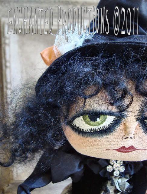 primitive folk art halloween gypsy witch doll ehag