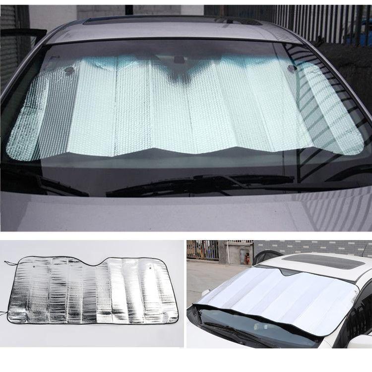 Front Windshield Car Window Foldable Sun Visor Shade Shield Sunshade Cover Accessories Silver Color Foam Car Exterior Accessories Car Exterior Accessories