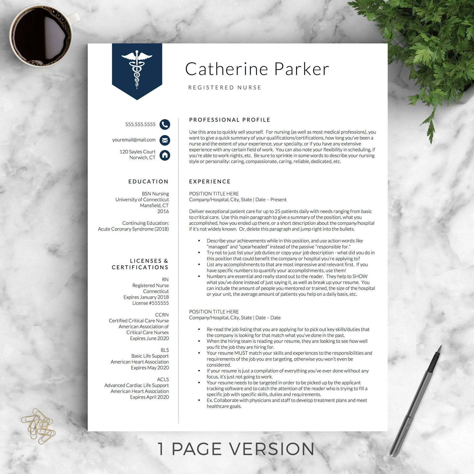 Doctor Nursing Resume Template The Catherine Medical Resume